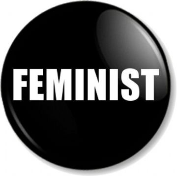"FEMINIST 1"" Pin Button Badge Feminism Women's Rights Equality Activist - Black"